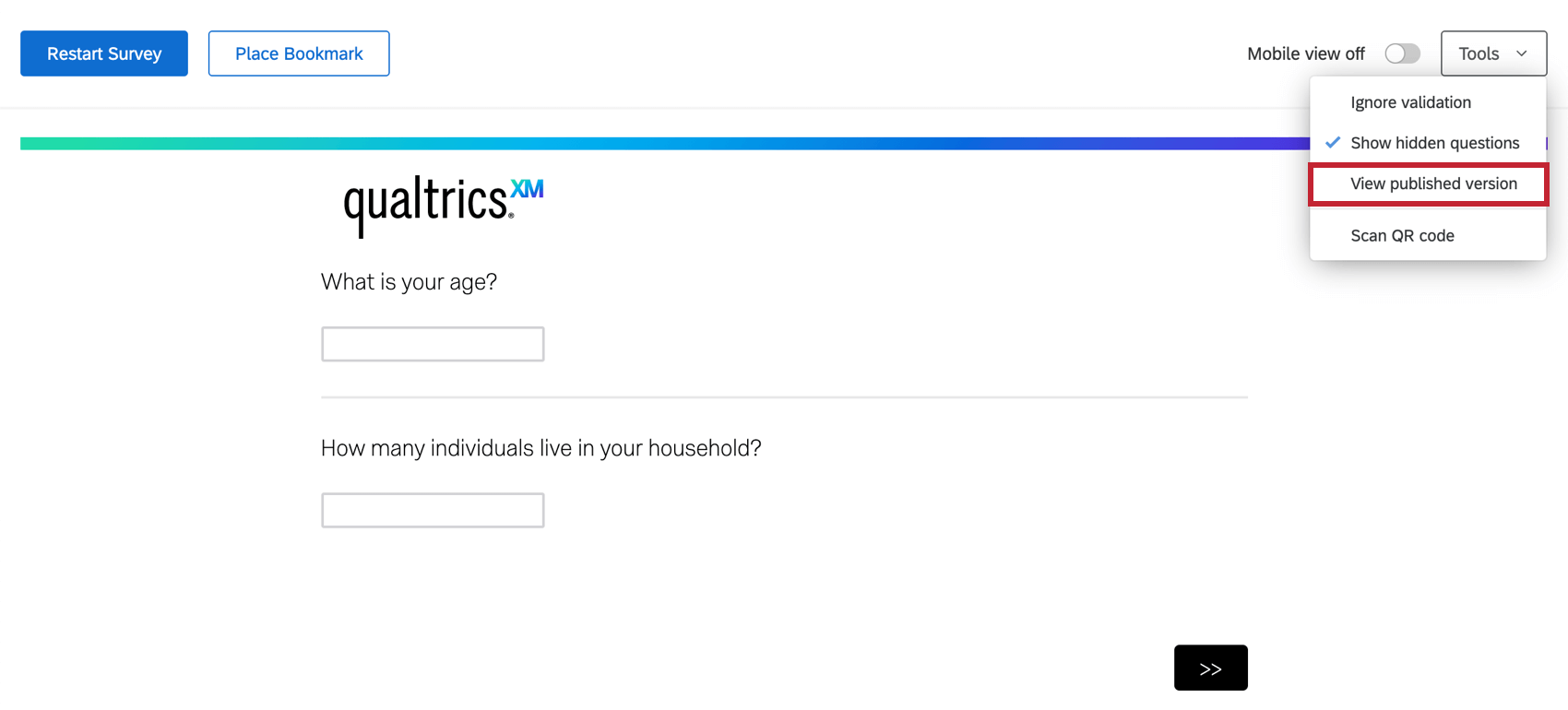 Inside a survey preview, tools dropdown towards center-right very top expanded