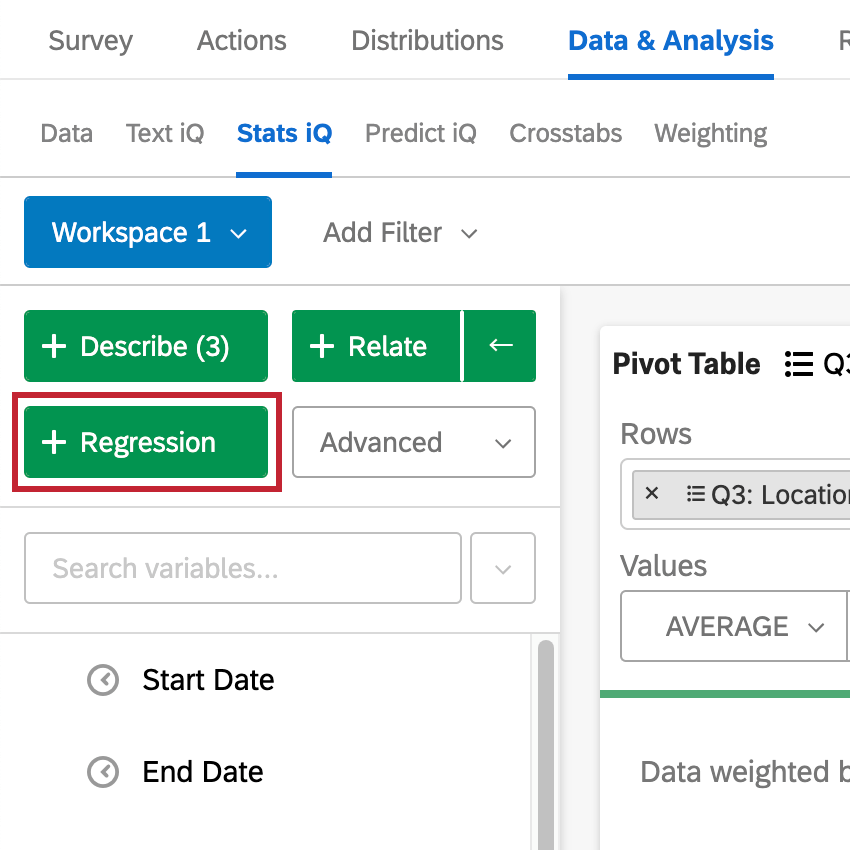 Top-left of stats iQ, selecting the regression button