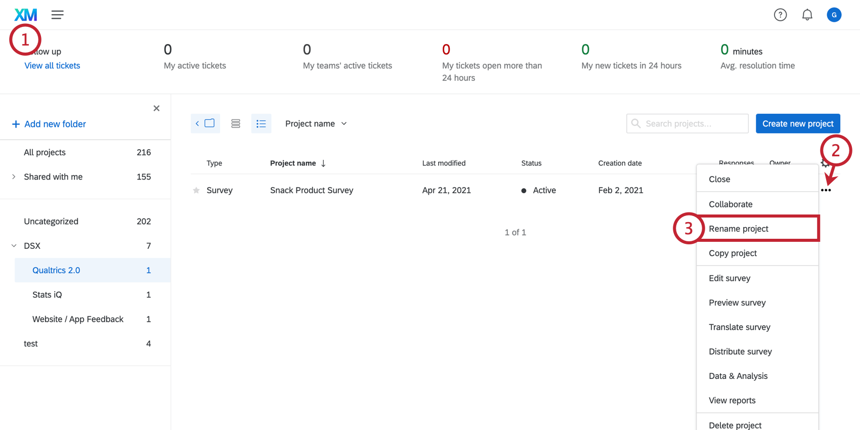 Navigating to the rename project option on the Projects page; open the dropdown menu on your survey by clicking the three dots on the far right