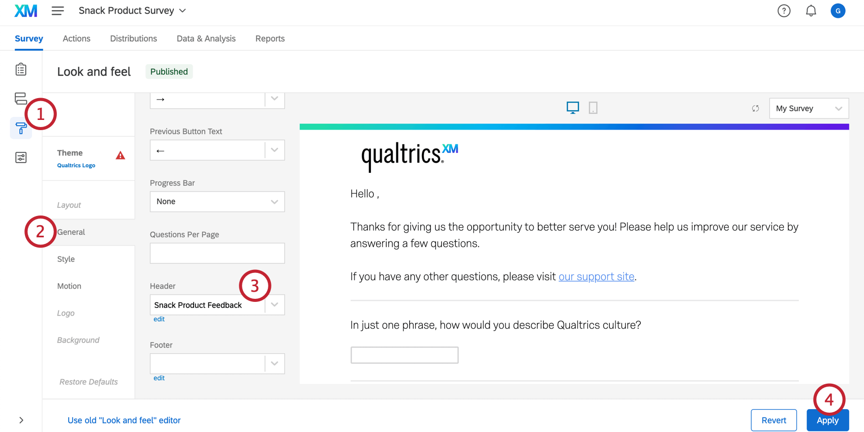 In the Look and feel menu, adding a header to the survey
