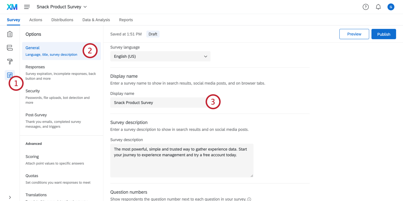 Changing the display name in the survey options
