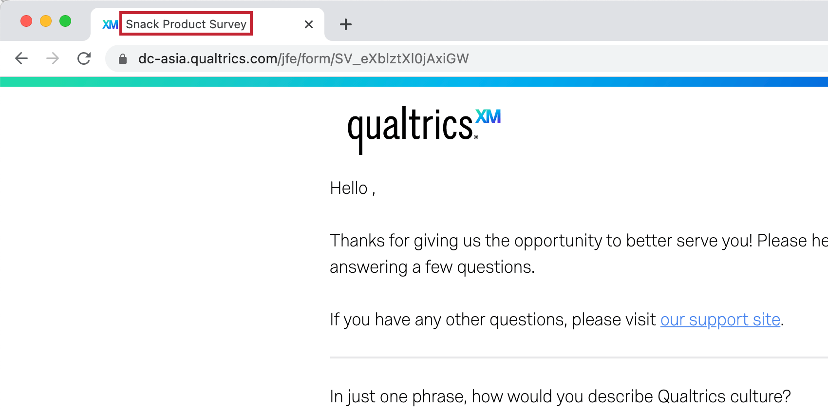 Showing the display name at the top of the survey browser
