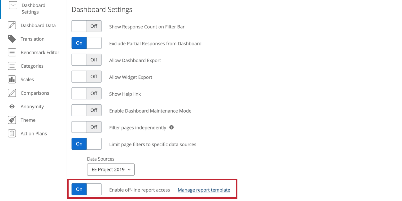 """Image of the dashboard settings page, the very last option with the exact wording described in the step. Next to the toggle is the blue text link that says """"Manage report template"""""""