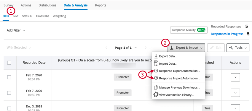 the data & analysis tab. the import & export button has been selected to then choose an automation