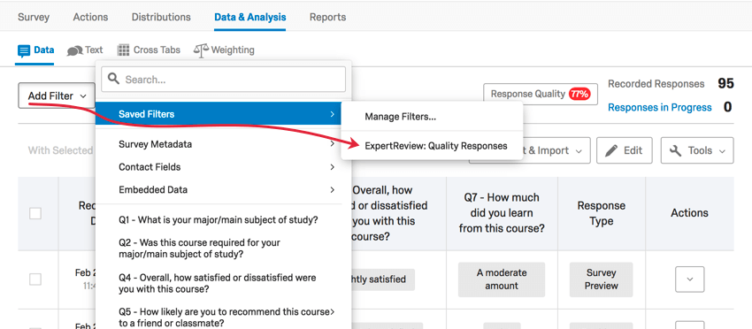 Opening a saved expert review filter