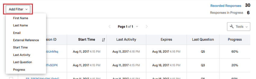 Add Filter option in top-left corner of Response in Progress page