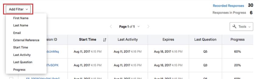 Ajouter une option de filtre en haut à gauche de la page Réponse en cours
