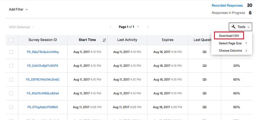 Téléchargement de l'option CSV dans la liste déroulante Outils