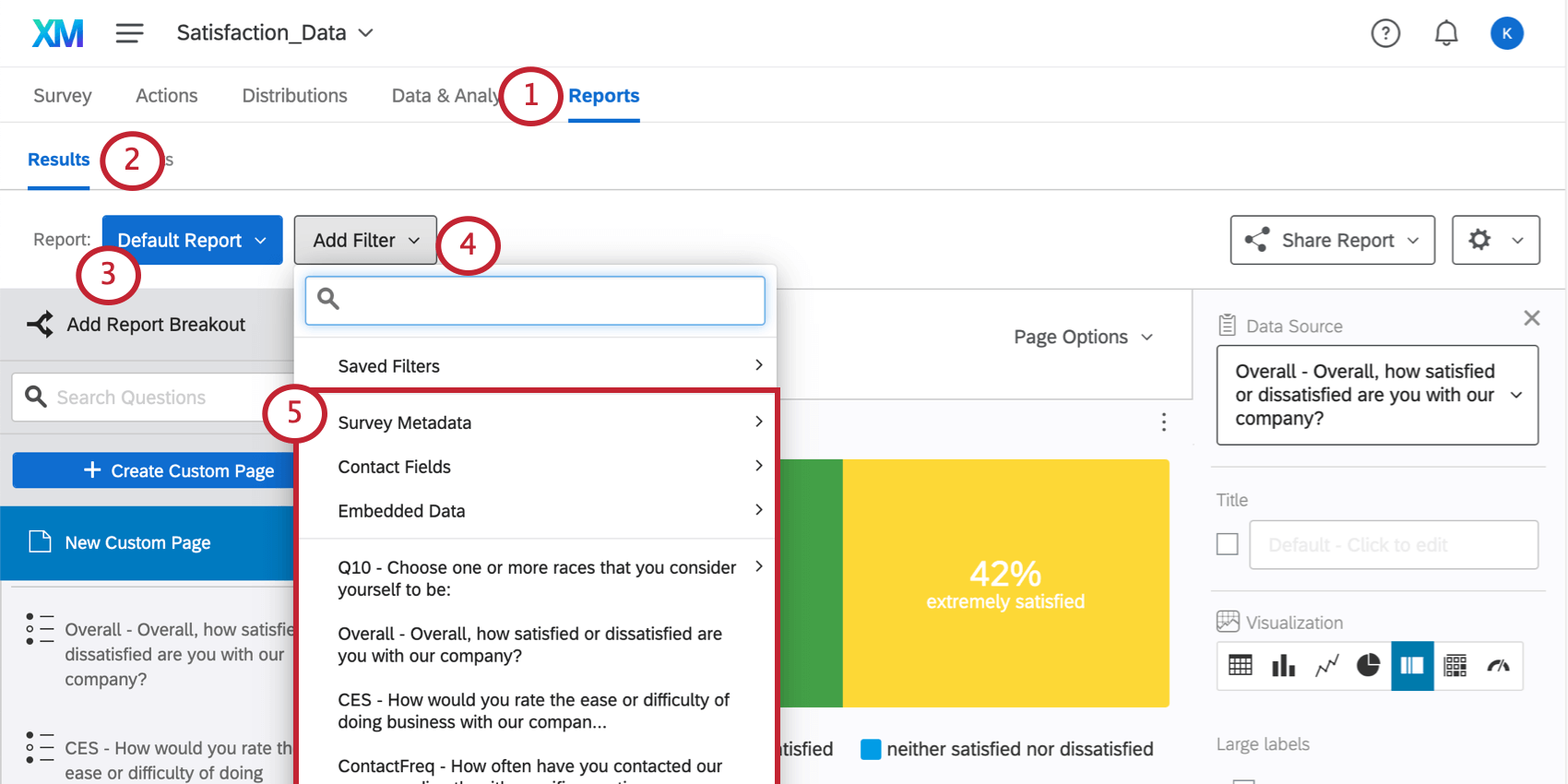 Add Filter button reveals a list of all survey fields, including questions and embedded data