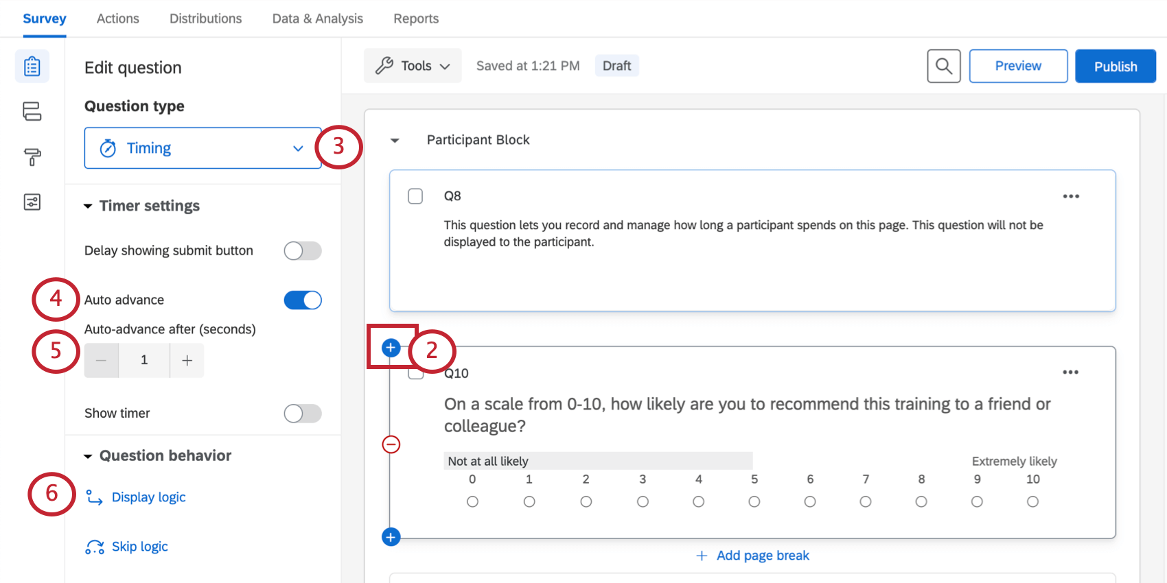 Showing how to hover over a question to get a plus sign to appear so you can add questions above it; then, when selecting a timing question, shows all the different options in the editing pane, from question type, to auto advance, to question behavior