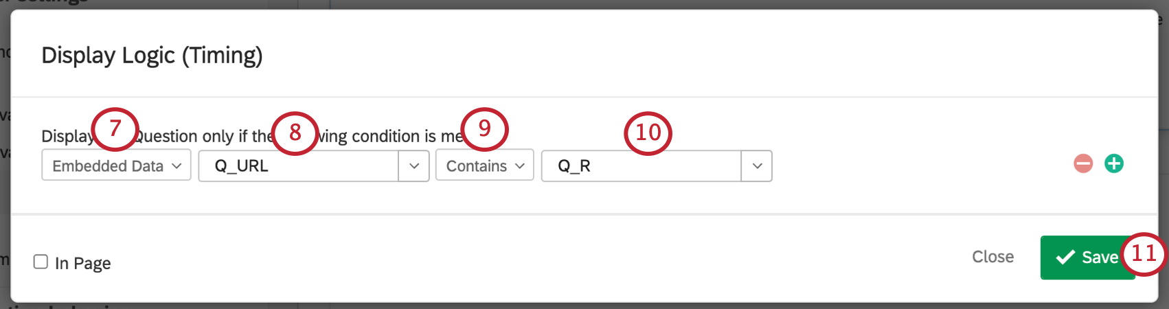 Q_URL containing Q_R as the embedded data element that will cause the question to display