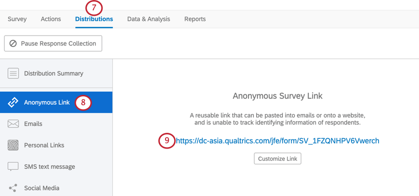 the distributions tab. the anonymous link is selected