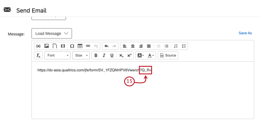 """a retake link in the message editor. the string """"?Q_R="""" is added at the end of the url"""