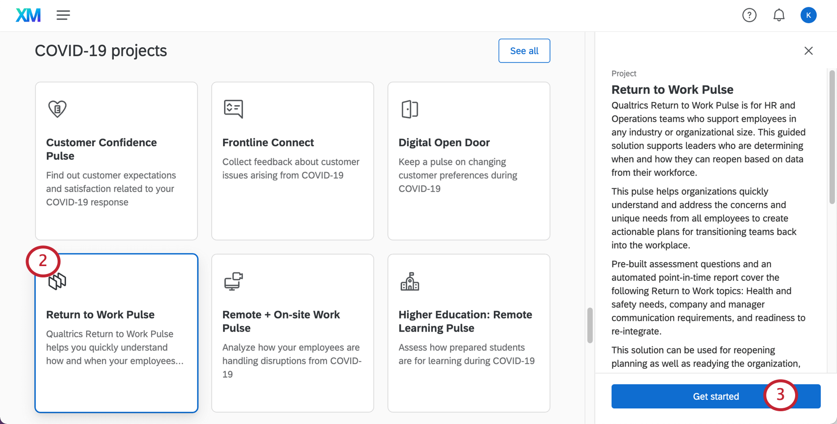Image of catalog, selecting the described project, seeing a sidebar open on the right describing it, ending with a button to get started creating it