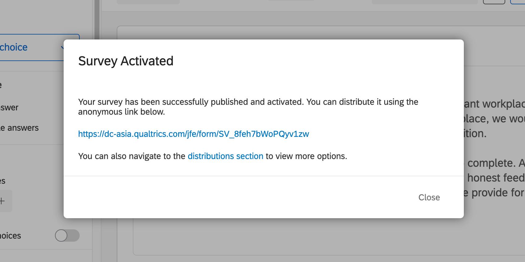Survey publish window