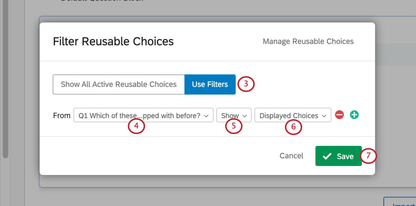 Filter Reusable Choices window