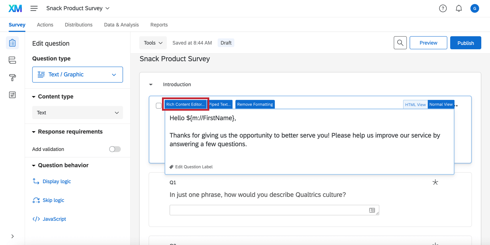 Rich Content Editor button at the top left of the question editor