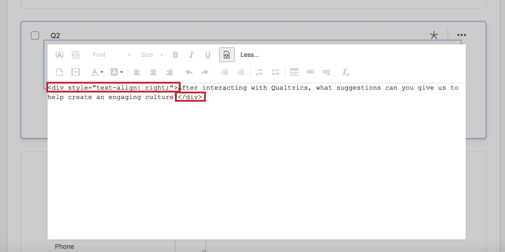Aligned text in the HTML source view