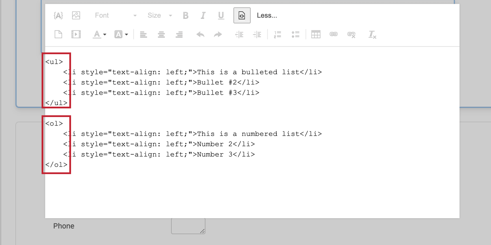 Bulleted and numbered lists in the HTML source view