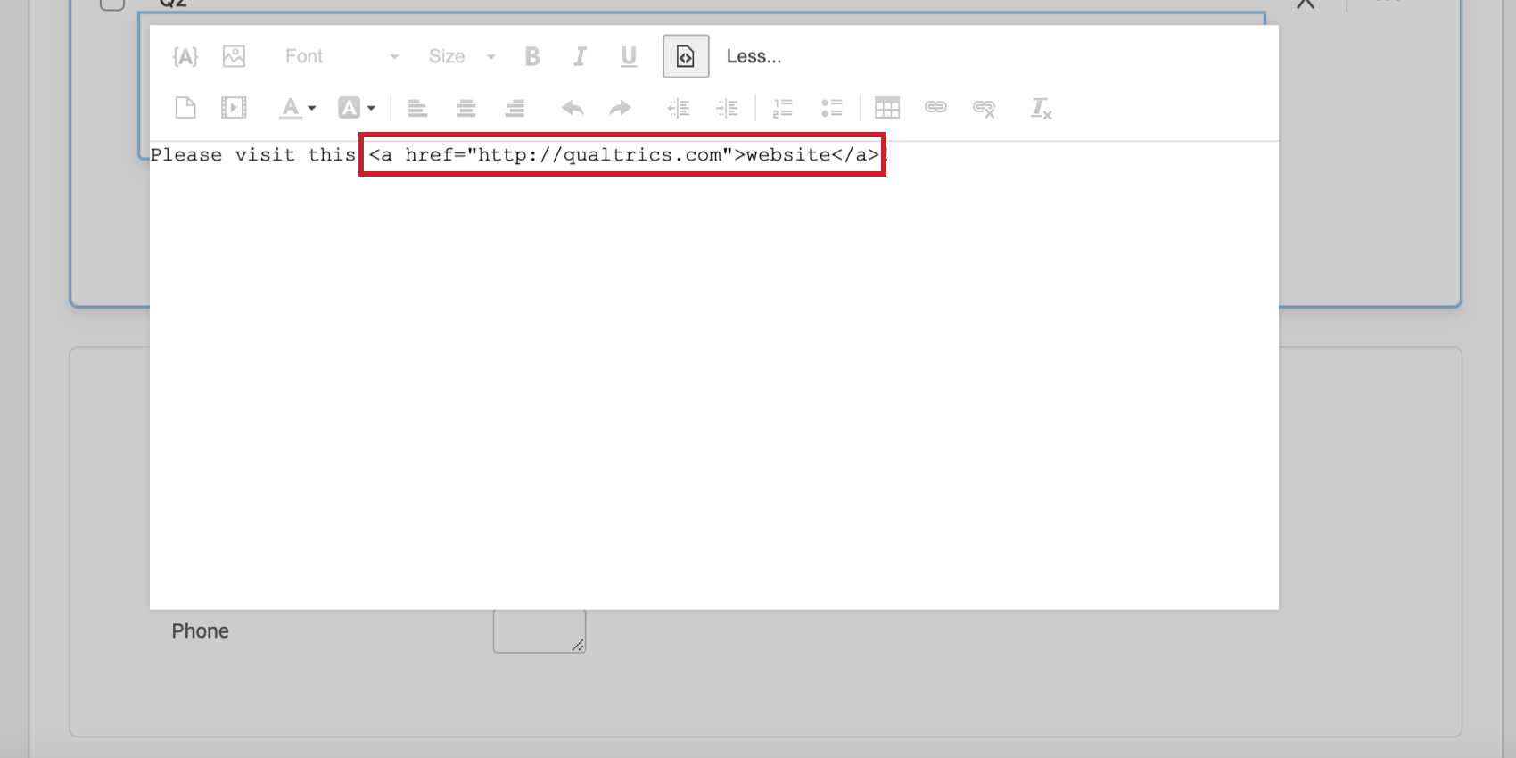 Hyperlinked text in the HTML source view