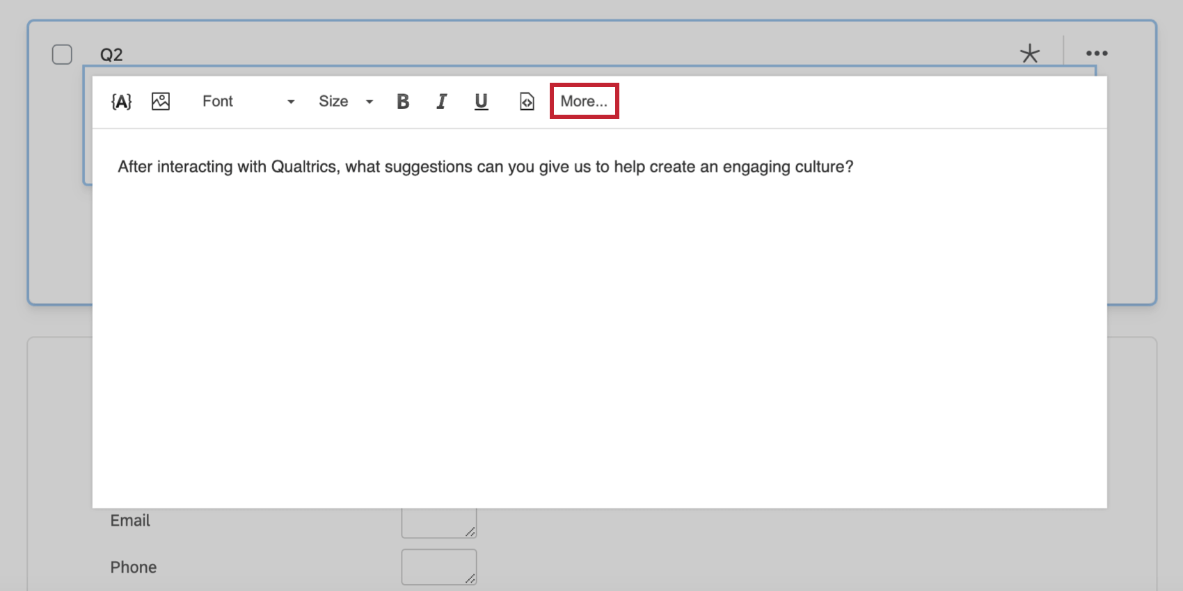 The More option in the rich content editor