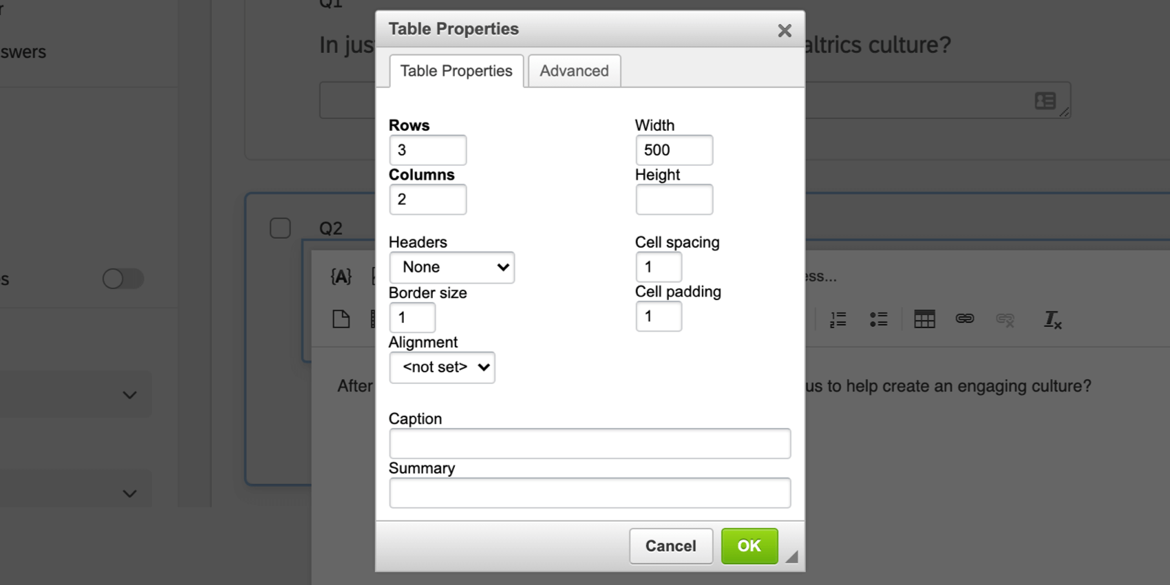 Table editor in the Rich Content Editor