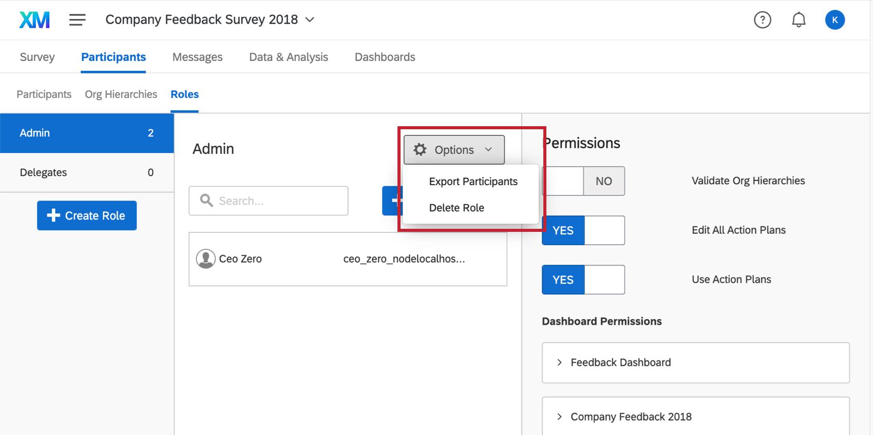 Options button inside a role