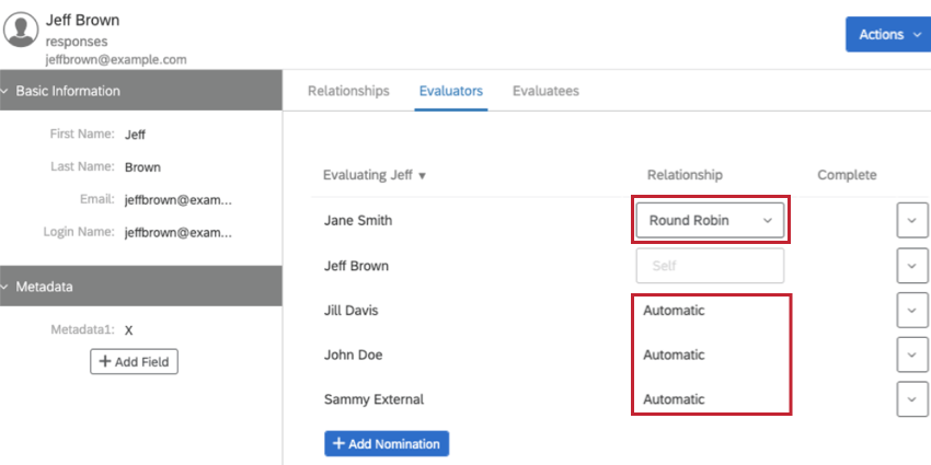 While viewing a participant's information, seeing a relationship listed as Round Robin or Automatic