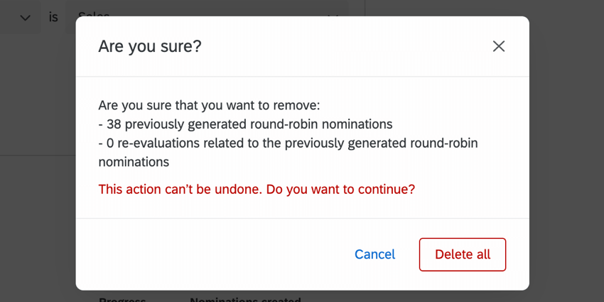 the delete all confirmation window
