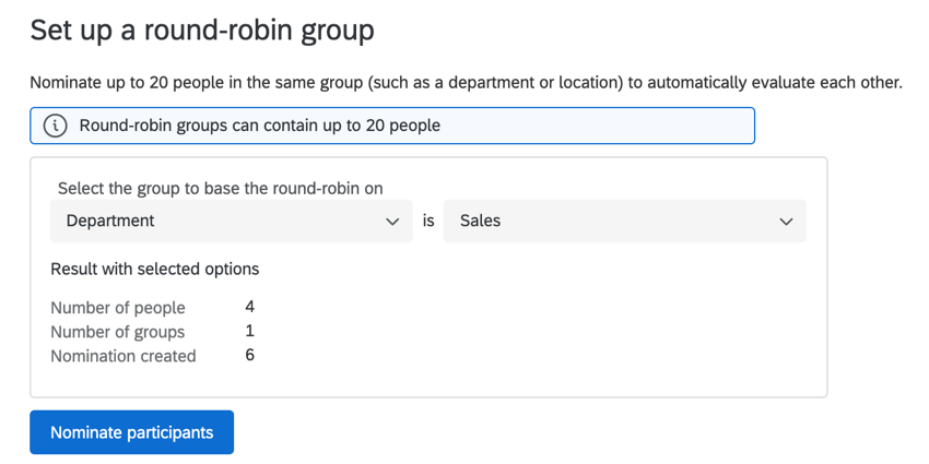 a round robin set up for department is equal to sales