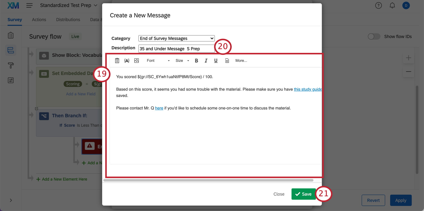 Sample message has score piped in and a helpful name