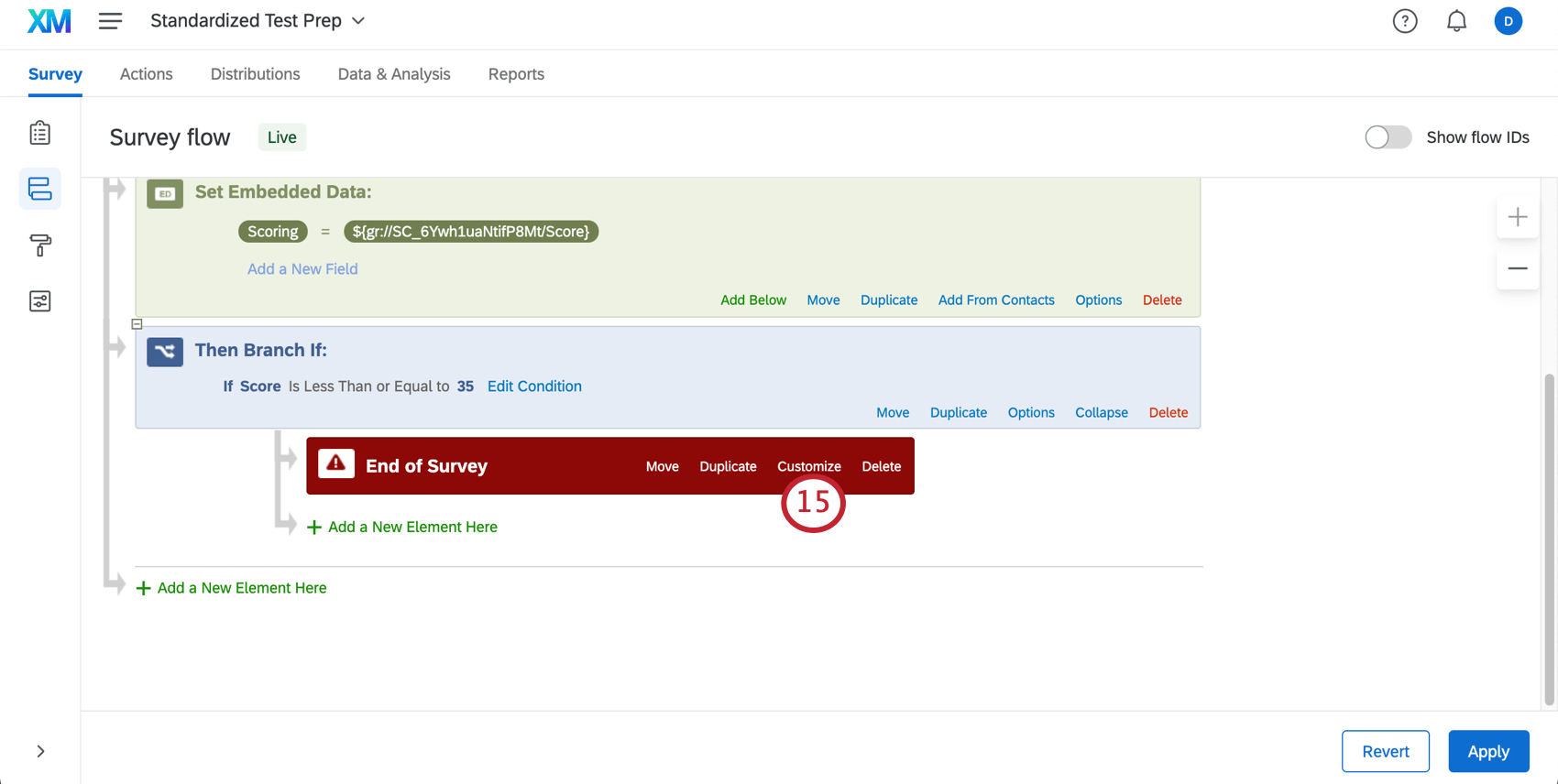 Tiny white customize button on red end of survey element