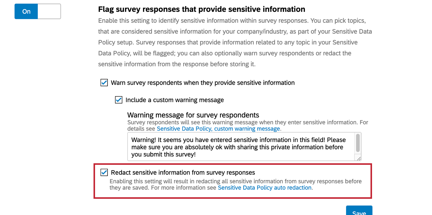 Flag survey responses option - beneath this option, a setting for redaction
