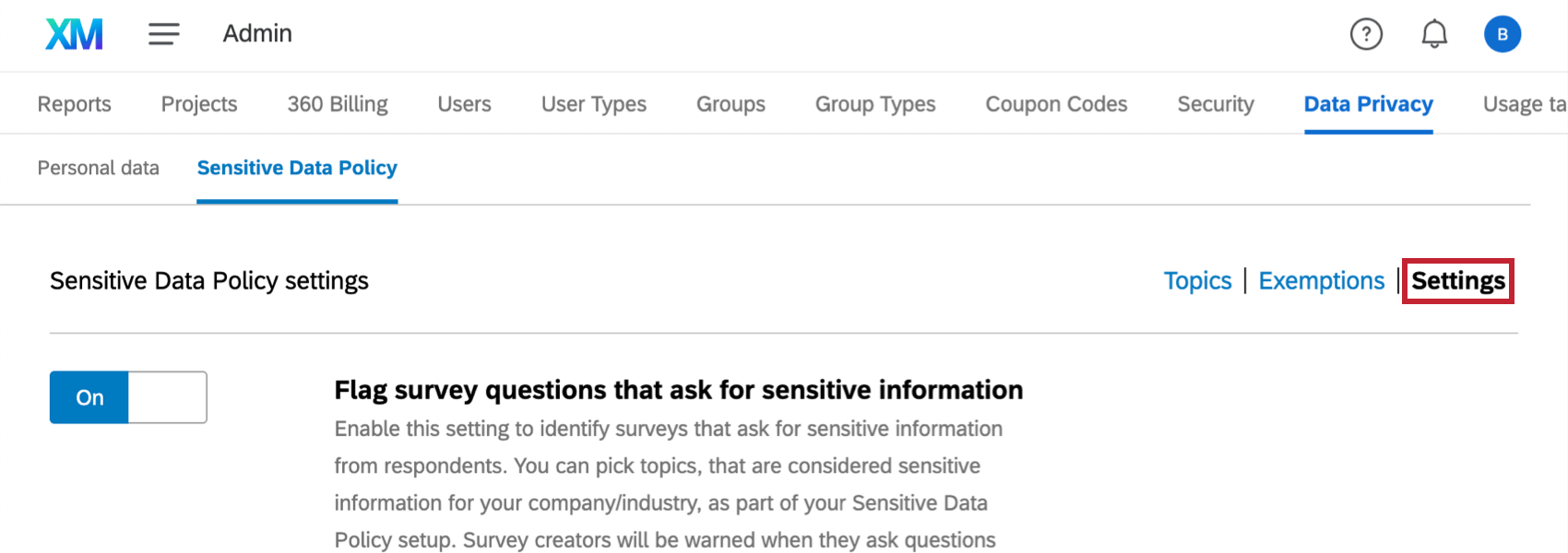 image of the sensitive data policy tab. The settings menu in the top right is highlighted