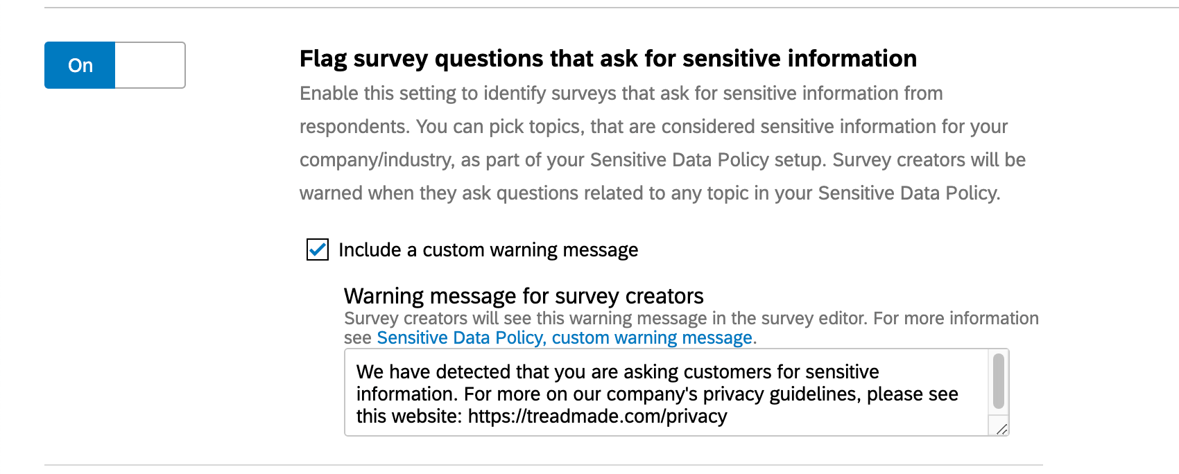 Flag survey questions that ask for sensitive information
