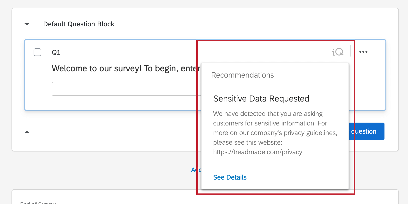 """image showing the """"sensitive data requested"""" warning in the survey editor"""