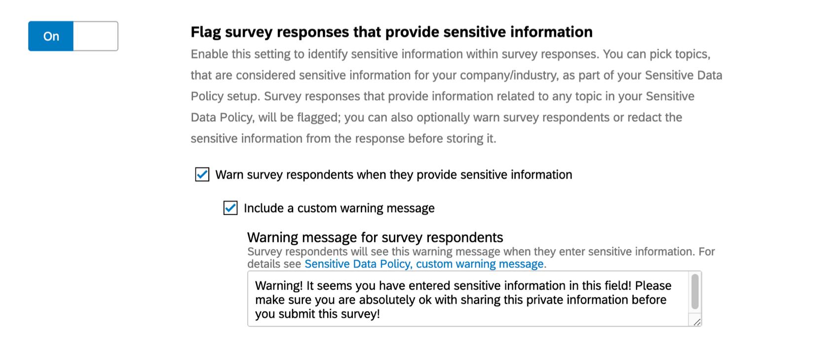 Flag survey responses option