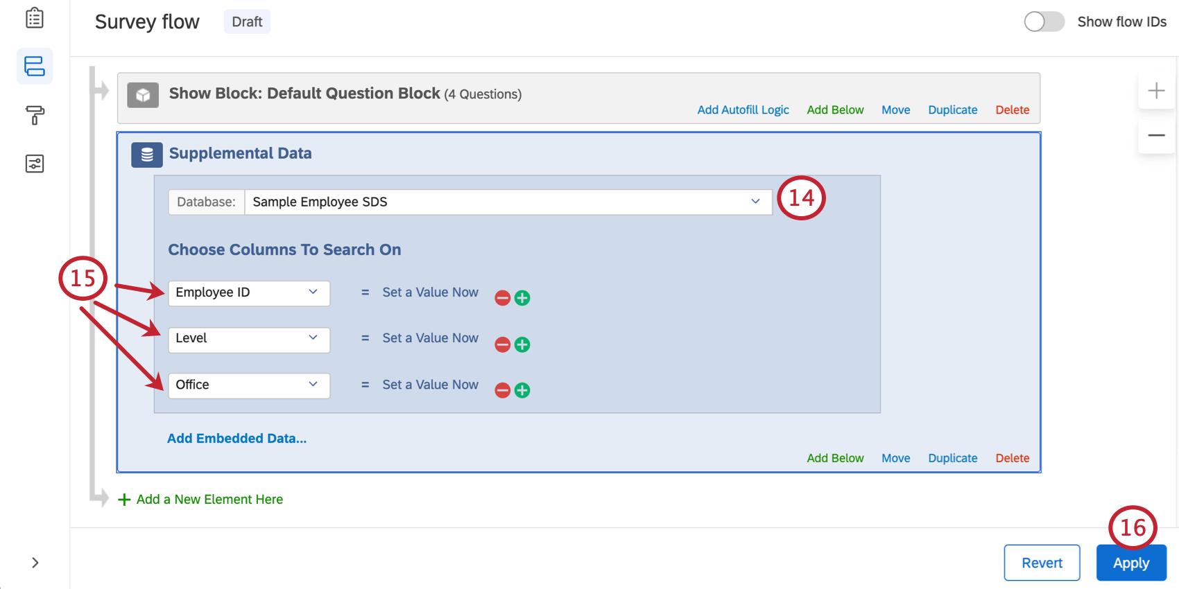 Filling out SDS element in survey flow