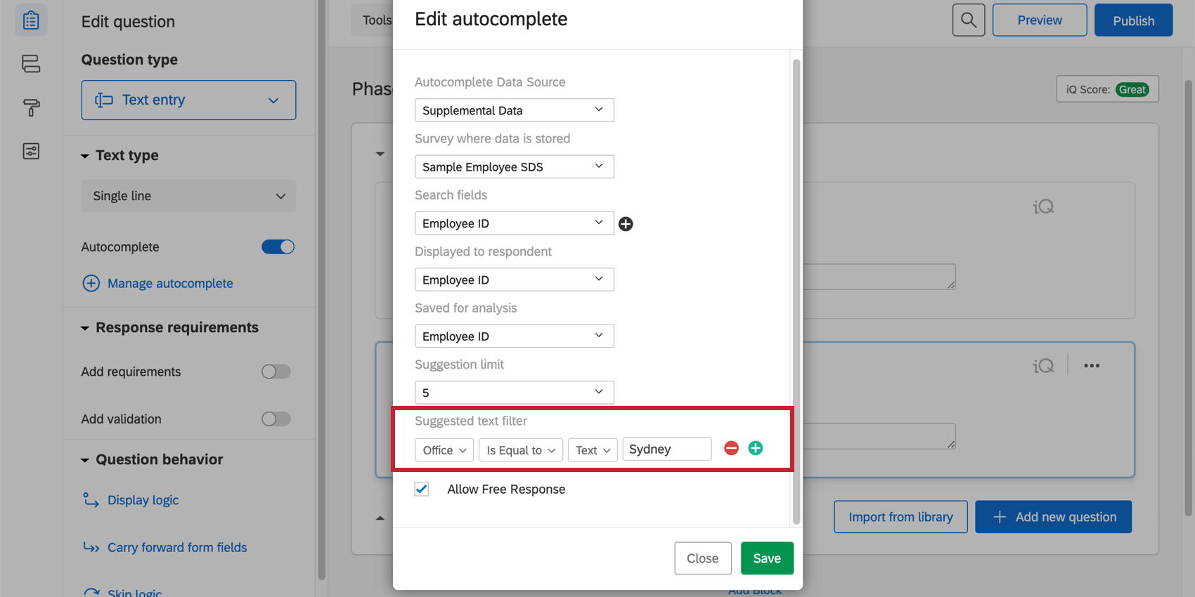 """Suggestion filter - if Office is equal to the text """"Sydney"""""""