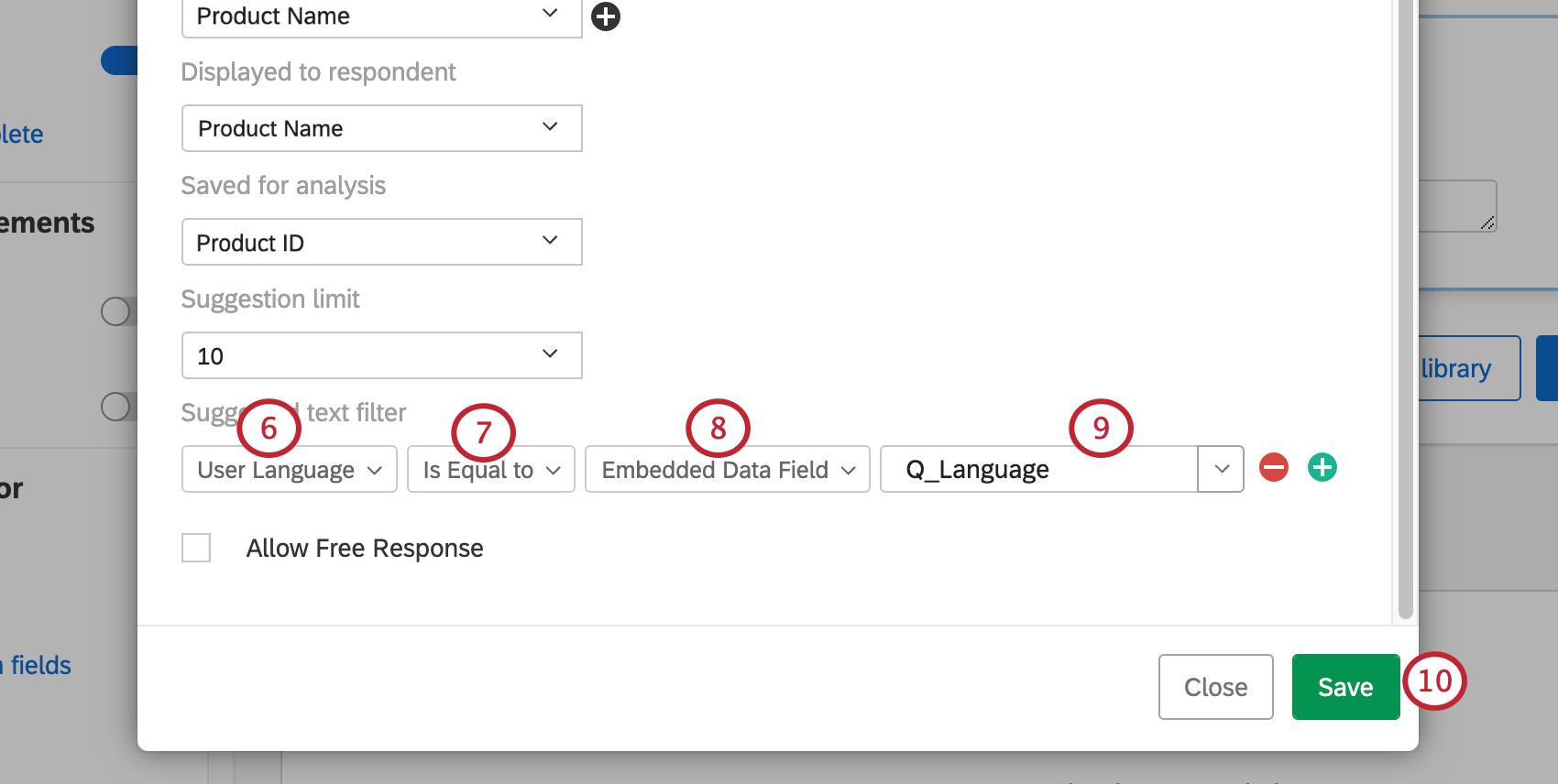 Image of filter set as steps describe