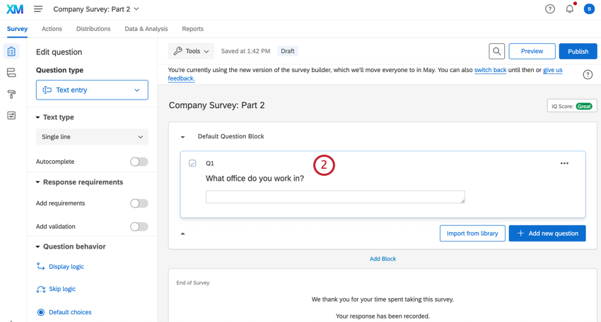adding text entry questions to the survey