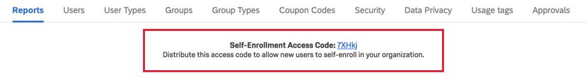 Self-enrollment code at top