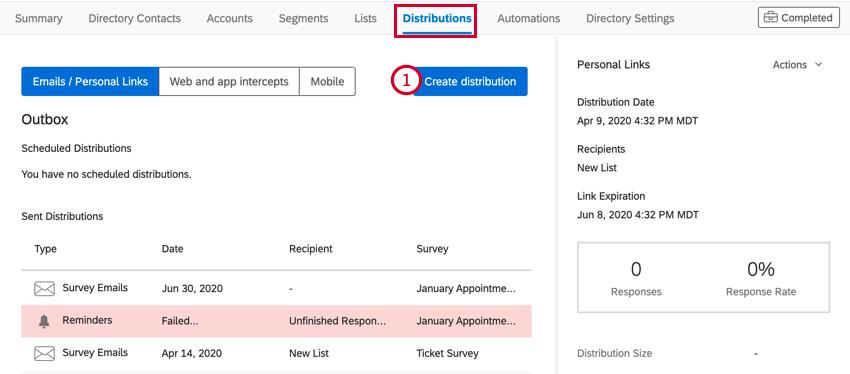Image illustrant l'onglet Distributions dans XM Directory. Le bouton Créer une distribution est sélectionné.