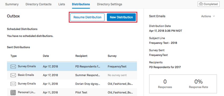 Resume Distribution and New Distribution in the center of the Outbox
