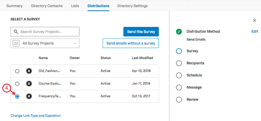 A survey is selected