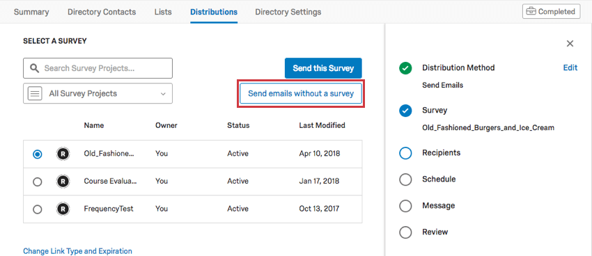 Send emails without a survey button