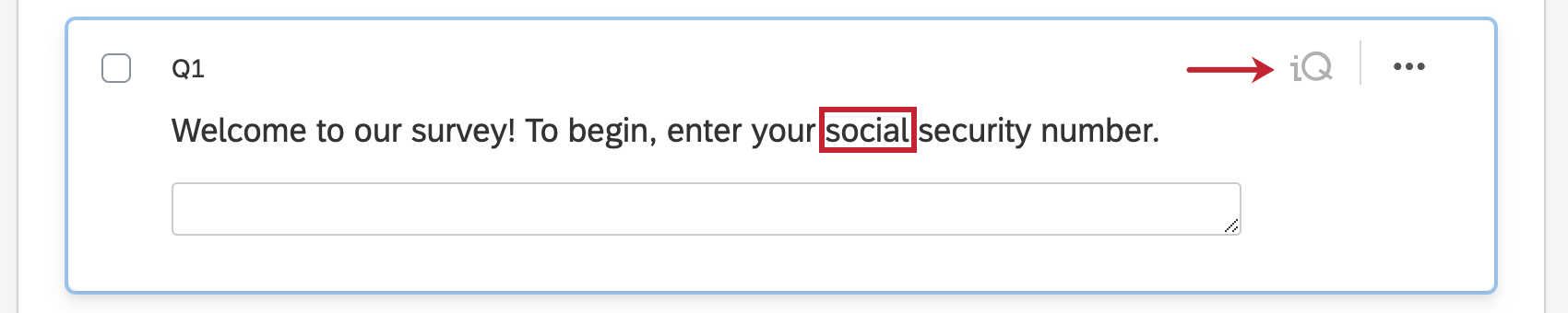 Highlighting the word social in the question and the gray iQ icon