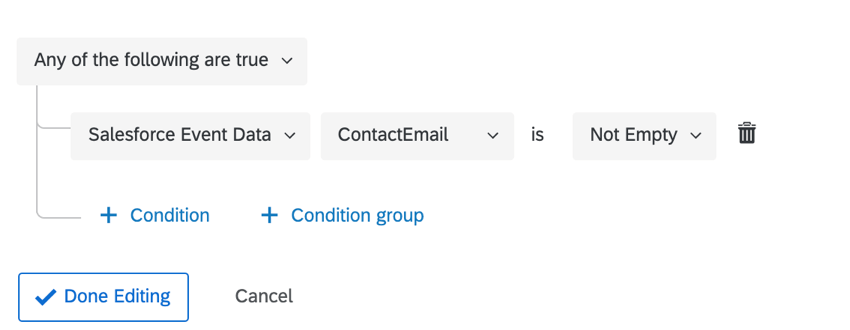 a condition for when contact email is not empty