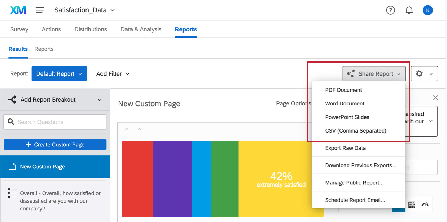 share report dropdown on the far-right
