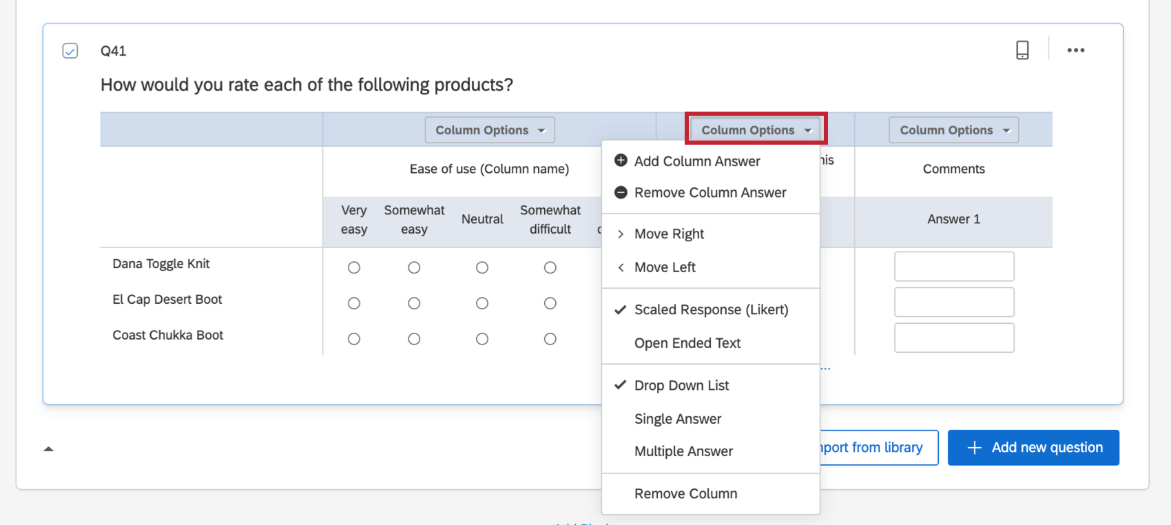 column options dropdown
